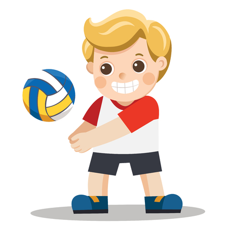 Funny little boy playing volley ball