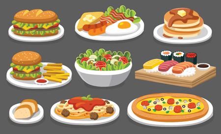 Set of traditional food. Lets eat something delicious tasty food. Icons for menu logos and labels. Ilustração