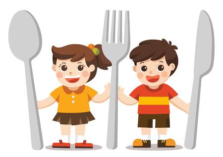Menu pour enfants. Les enfants avec un couteau, une cuillère et une fourchette.