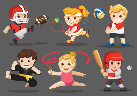 Team sports for kids including Karate, Volleyball, American Football, Baseball, Tennis, Gymnastic. Ilustração