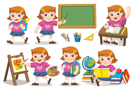 Back to School. Cute children have fun and sitting at school desk and hand up to answer in class. A cute girl look up with interest and reading. Isolated vector. Ilustração