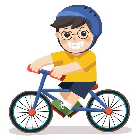 안경을 쓴 귀여운 소년. 그는 흰색 배경에 자전거를 타고.