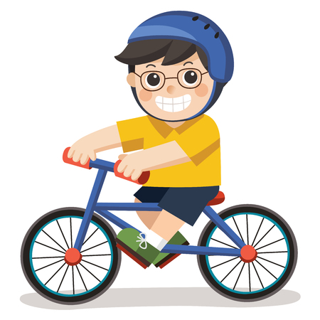 A Cute Boy with glasses. He riding a bicycle on a white background. Ilustração