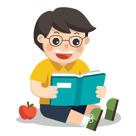 A Cute Boy with glasses. He reading a book sitting on the floor. Ilustração