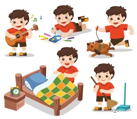 vettore isolato. La routine quotidiana di un ragazzo carino su sfondo bianco. [Fai un letto, Fai i compiti, Disegna, Suona la chitarra, Corri con il suo cane, Pulisci] Vettoriali