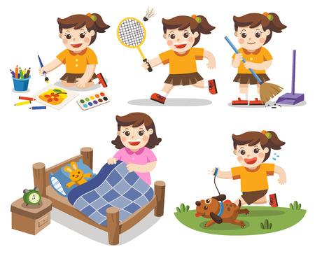De dagelijkse routine van een schattig meisje op een witte achtergrond. Geïsoleerde vector. [Een bed opmaken, huiswerk maken, tekenen, badmintonnen, rennen met zijn hond, schoonmaken] Vector Illustratie