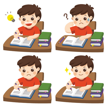 The daily day for boy student doing homework. set of different kid pose learning.