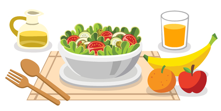 Eating salads. Diet food for life. Healthy foods with benefits