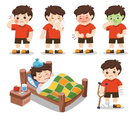 Set van Een jongen wordt ziek. Hij heeft hoge koorts. buikpijn, kiespijn. Vector illustratie