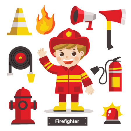 Set of characters of Profession Firefighter with Fire safety equipments. Firefighter