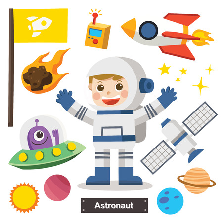 Set of characters of Astronaut with Spacecraft and equipment. Astronaut and Space Icon.