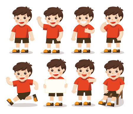 Boys character set  in different posesl. A character for your project. Vector illustration Illustration