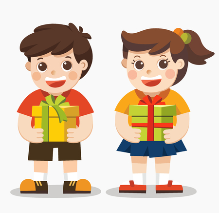 Cute boy and girl holding big ribbon bow wrapped gift box in front of them in arms.