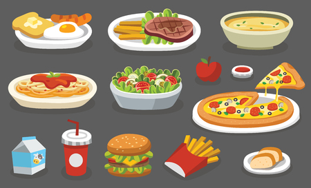 Set of traditional food. Let's eat something delicious tasty food. Icons for menu logos and labels.