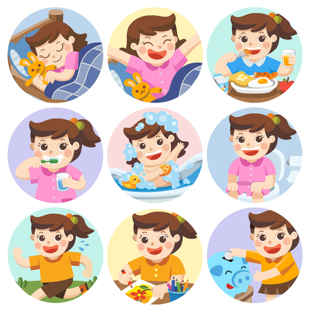 The daily routine of a cute girl on a white background. [sleep, brush teeth, take a bath, eat, saving money, wake up, draw a picture, sitting on the toilet, running]. Isolated