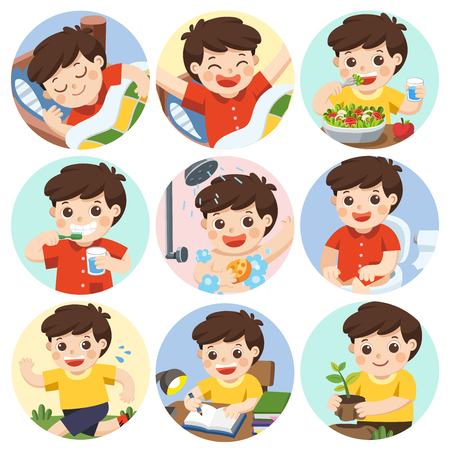 The daily routine of a cute boy on a white background. [sleep, brush teeth, take a bath, eat, wake up, draw a picture, sitting on the toilet, running, plant a tree]. Isolated vector 矢量图像