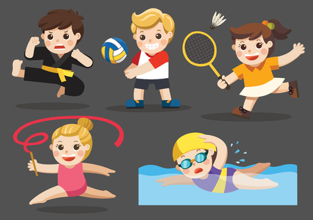 Team sports for kids including Gymnastic, Volleyball, Swimming, Badminton , Karate.