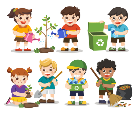 Isolated vector. Set of Cute kids volunteers. Save Earth. Waste recycling. Kids planted and watering young trees. they are gathering garbage and plastic waste for recycling.
