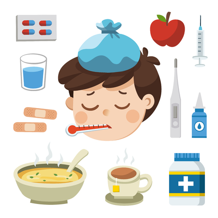 Sick Boy with thermometer in his mouth. Bad feeling. And Icon set of cold, sick. Иллюстрация