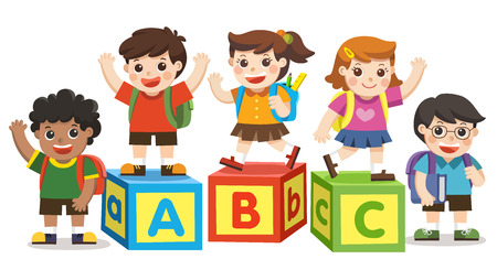 Back to School. Happy school kids with alphabet blocks.