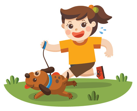 A Girl going to take the dog for a walk in park.