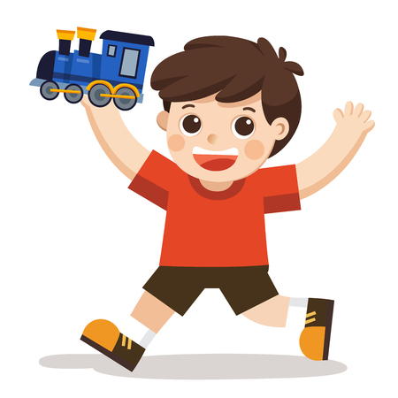 A young boy playing his blue train toy