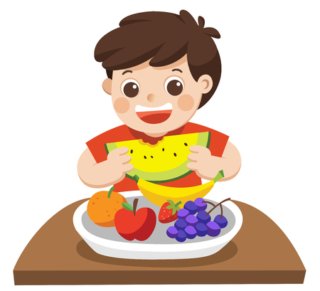 A Little Boy happy to eat Friuts. He love Friuts. Isolated vector
