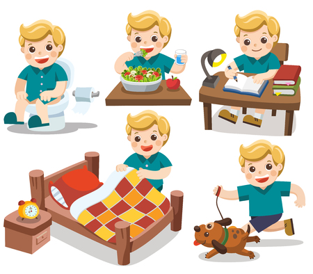 The daily routine of A cute boy on a white background.[wake up, take a shower, Drawing, Play guitar, run]. Isolated vector Ilustrace