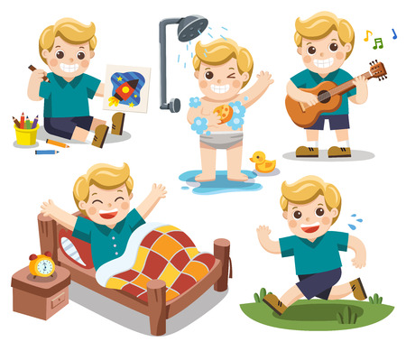 The daily routine of A cute boy on a white background.[wake up, take a shower, Drawing, Play guitar, run]. Isolated vector Ilustração