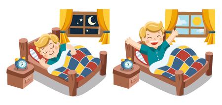 Vettore isolato. Un ragazzino che dorme stanotte sogni, buona notte e sogni d'oro. si sveglia la mattina.