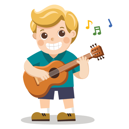 A cheerful boy playing guitar and singing happily.