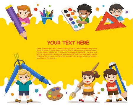 Di nuovo a scuola. Bambini felici della scuola con elementi della scuola. Modello per brochure pubblicitaria. I bambini guardano con interesse. Vettoriali