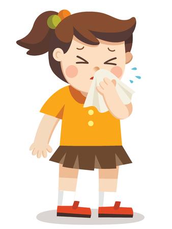 病気の子供。ハンカチを手にした男の子。季節のアレルギー。