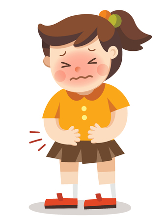 A girl having stomach ache. she pressing hands to her abdomen. Vector Illustration