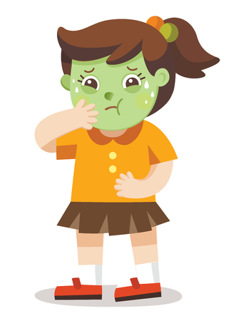 A Girl Vomiting. she has been sick. A Girl  Feeling Unwell Because Of The Sickness