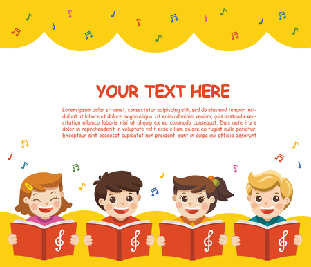 Choir girls and boys singing a song. Music Scene. Template for advertising brochure. Illustration