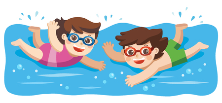 Cheerful and active little Boy and Girl swimming in the swimming pool. Фото со стока - 104728578
