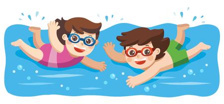 Wesoły i aktywny mały chłopiec i dziewczynka pływających w basenie. Ilustracje wektorowe