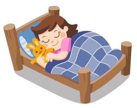 Una linda chica duerme esta noche con sueños, buenas noches y dulces sueños. Ilustración de vector