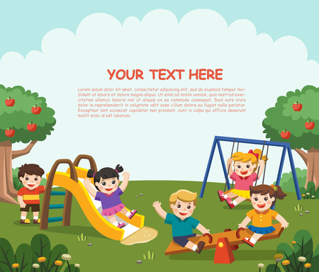 Happy excited kids having fun together on playground. Children play outside. Illustration Illustration