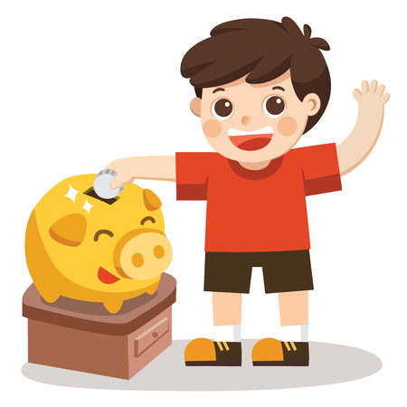 A Little Boy happy to saving money in piggy bank. Isolated vector