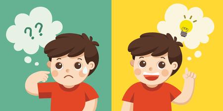 Apprendre et faire grandir les enfants. Un garçon mignon pensant. Ne pensez pas, ne comprenez pas, réfléchissez.