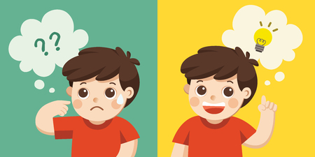 Learning and Growing Children. A Cute Boy thinking. Think not, do not understand, Think out.