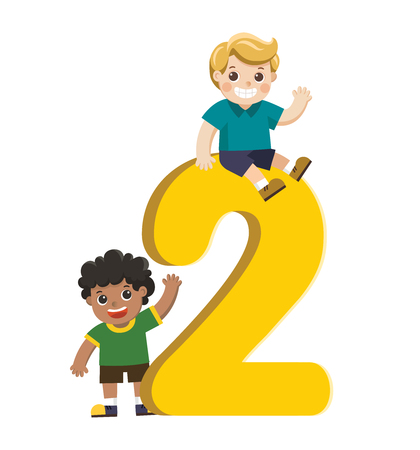 Vector illustration set of school kids and colorful number two shaped. Back to School.