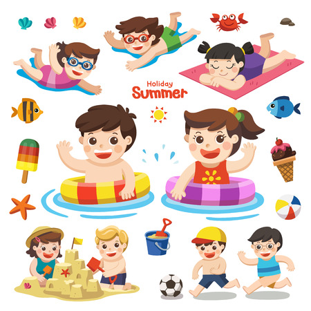 Let's enjoy summer. Set vector design element for summer season. Happy kids playing on the beach and swimming.