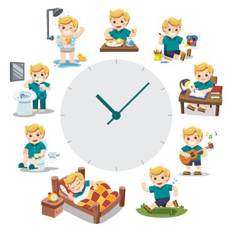 Ein süßer Junge in verschiedenen Situationen. Tagesablauf mit roten einfachen Uhren. Tageszeit. Auf weißem Hintergrund isoliert.