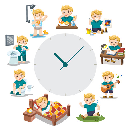 A Cute Boy in different situations. Daily routine with red simple watches. Day time. Isolated on white background. Illustration