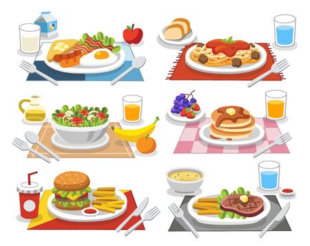 Sample food at each meal. Meals of people who should eat in a day. Ideas for creating a nutritional description for daily food. Иллюстрация