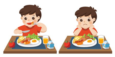Little boy happy to eat breakfast and Unhappy to eat breakfast. Concept of Health and growing children.