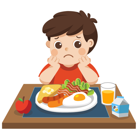 Concept of Health and growing children. Little boy unhappy to eat breakfast. Standard-Bild - 112282434